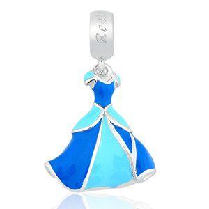 Berloque Vestido da Cinderela em Prata 925 com  Resina - Linha Dreams