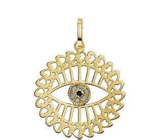 Pingente Olho Grego Vazado em Ouro Amarelo 18k com Zircônias