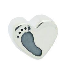 Berloque Coração com Pezinho em Prata 925 - Linha Dreams