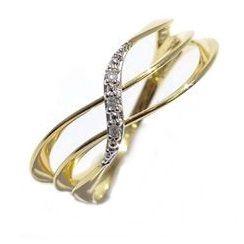Anel com 3 aros em Ouro Amarelo 18k com Brilhantes