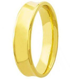 Aliança Concava em Ouro Amarelo 18K