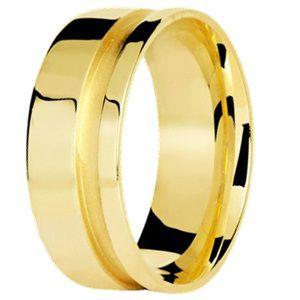 Aliança Reta com Friso lateral em Ouro Amarelo 18K