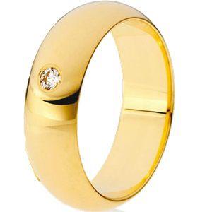 Aliança Abaulada em Ouro Amarelo 18k com Brilhantes