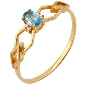 Anel com Topázio Azul e Brilhantes em Ouro Amarelo 18k-750