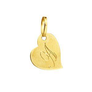 Pingente Coração em Ouro Amarelo com a letra A gravado