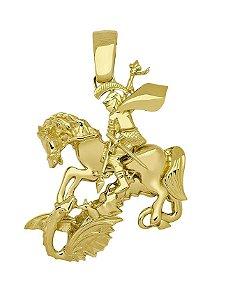 Pingente São Jorge em Ouro Amarelo 18k forrado