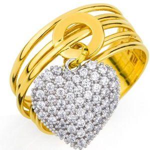 Anel com 5 Fios em Ouro Amarelo 18k com Coração Cravejado com Zircônias