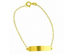 Pulseira Infantil Chapinha em Ouro Amarelo 18K