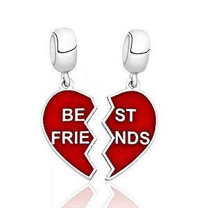 Berloque Duplo Best Friends em Prata 925 com Resina Vermelha
