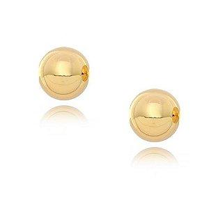 Brinco Bola de 7mm polida e BANHADA em Ouro 18k