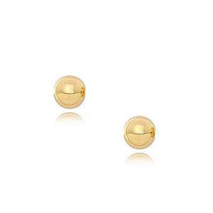 Brinco Bola de 4mm polida e BANHADA em Ouro 18k