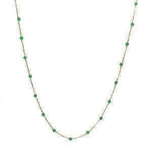 Colar em Ouro Amarelo 18k com Jades Verdes - 80cm