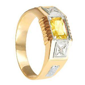 Anel de Formatura Masculino em Ouro Amarelo 18k com Pedras Sintéticas