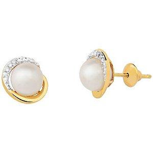 Brinco Moon em Ouro 18k com Pérola e Diamantes