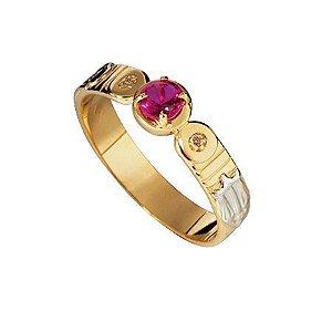 Anel de Formatura em Ouro 18k com Turmalina rosa e Brilhantes