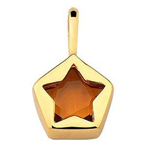 Pingente Estrela em Ouro 18k com Citrino