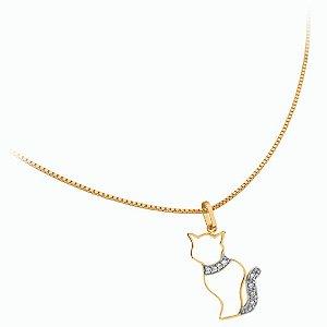 Pingente Gato Vazado com brilhantes em Ouro 18k
