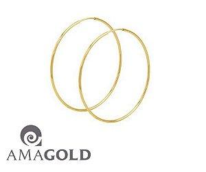 Brinco de argola redonda 62mm em ouro amarelo 18k