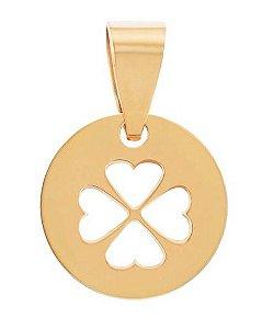 Pingente Medalha trevo Vazado em Ouro amarelo 18k