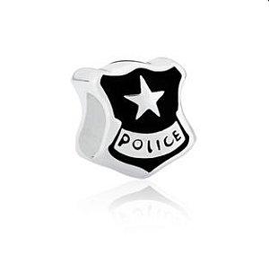 Berloque Polícia em Prata 925 com ródio branco e resina