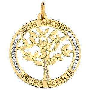 Pingente Medalha Família em Ouro Amarelo com detalhe rodinado