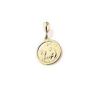 Pingente Medalha Lembrança de Batismo Mini em Ouro 18k
