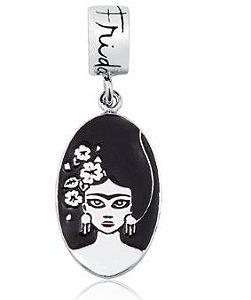 Berloque Frida Kahlo preto e branco em Prata 925