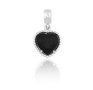 Berloque Coração Preto em Prata 925