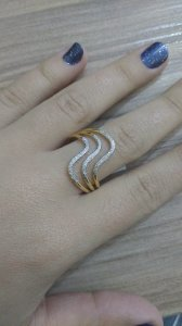 Anel Ondas três fios com ródio banhado em Ouro 18k - aro 22
