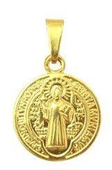Pingente Medalha de São Bento Banhada a Ouro 18k