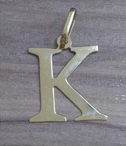 Pingente Letra K em Ouro 18k