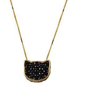 Gargantilha Gato preto com Espinélios em Ouro 18k