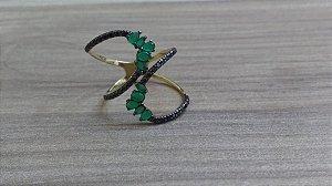 Anel Cobra em Ouro 18k com zircônias pretas e verdes