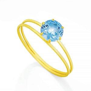 Anel Cálice Em Ouro 18K - 750 Zircônia Azul Claro