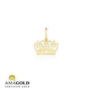 Pingente Coroa Vazada Em Ouro Amarelo 18K-750