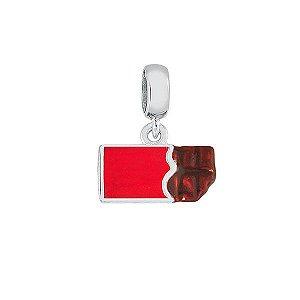 Berloque Infantil Chocolate Em Prata 925 Com Resina Vermelha E Marrom
