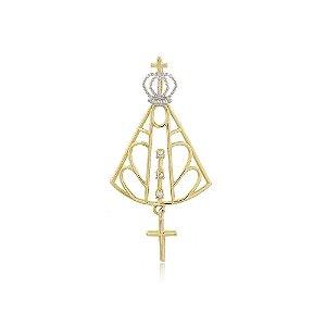 Pingente Nossa Senhora Aparecida Vazada Em Ouro Amarelo 18K-750 Com Zircônia