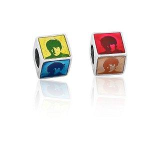 Berloque Cubo The Beatles Em Prata 925 Com Ródio E Resina
