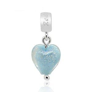 Berloque Murano Coração Azul Claro em Prata 925