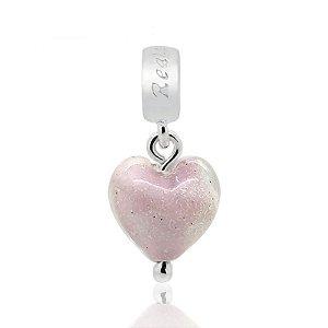 Berloque Murano Coração Rosa Em Prata 925
