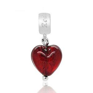 Berloque Murano Coração Vermelho Em Prata 925