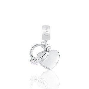 Berloque Coração Com Anel Solitário Em Prata 925