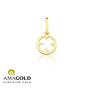 Pingente Medalha Trevo Vazado Em Ouro 18K-750