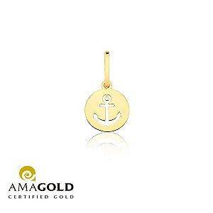 Pingente medalha Âncora vazado em Ouro 18K-750