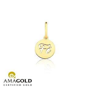 Pingente medalha Fé vazado em Ouro 18K-750