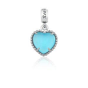 Berloque Coração Em Prata  925 Envelhecida Com Ágata Ceu Azul