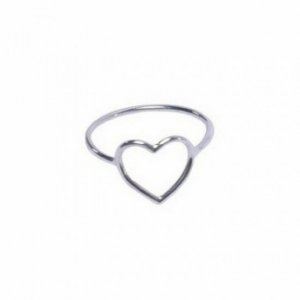Anel Coração Vazado Em Prata 925