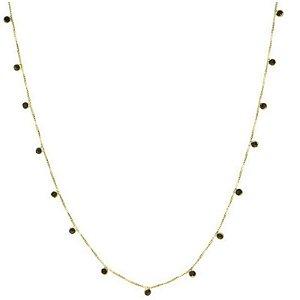 Gargantilha Veneziana Em Ouro Amarelo 18k-750 Com 45cm E Zircônias Negras