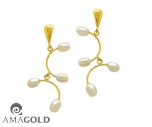 Brinco Em Ouro Amarelo 18K-750 Perolas Biwa