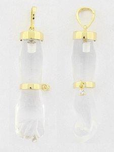 Pingente Figa De Cristal Detalhes Em Ouro Amarelo 18K-750